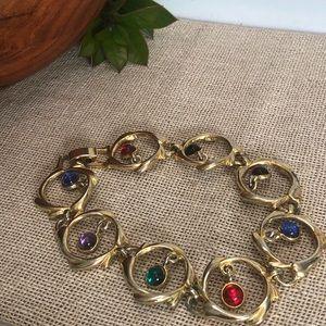 Vintage Unique Colorful Cabochon Circle Bracelet